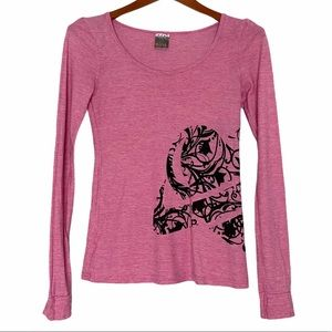Lost long sleeve crew neck tee graphic pink small